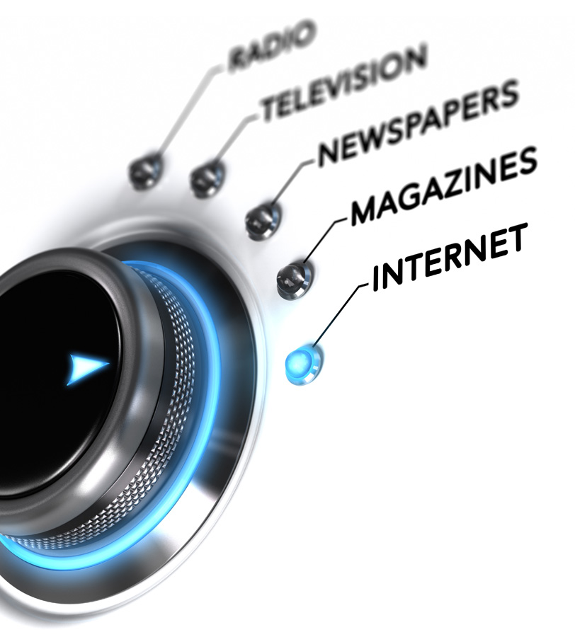 Button with radio, television, newspapers, magazines and internet options